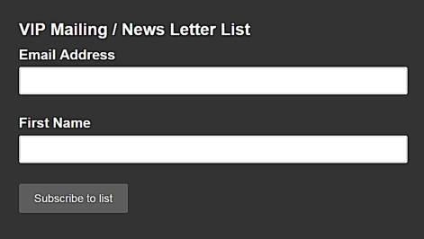 VIP Mailing List Form